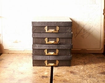 Vintage Cardboard Storage Box with Cubbie Dividers - Three Available