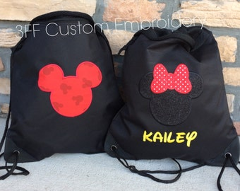 2 Pocket Canvas Drawstring MICKEY or MINNIE Backpack Personalized Embroidered