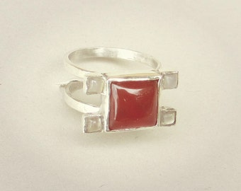 Square carnelian ring silver, sterling carnelian ring, double band ring silver, small size ring, square top ring