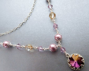 Lilac crystal chain layer necklace, lilac golden rhinestone pendant, pink pearls, mauve gold Austrian crystal, silver chain, crystal jewelry