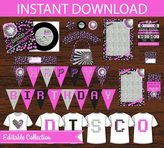 Disco Party Birthday DIY Printable Kit - Sliver & Pink - INSTANT DOWNLOAD by ...