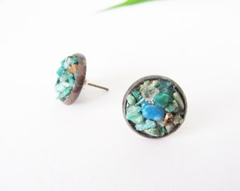 Turquoise Raw Rough Gemstone Earrings, Rustic Wedding Jewelry, Bridesmaid Gift, Maid of Honor Gift