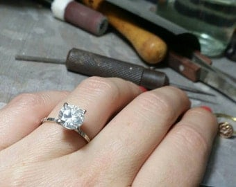 engagment ring, silver ring and cz, soliter ring, silver engagment ring