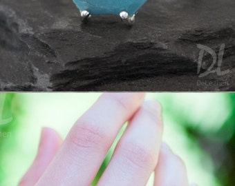 Turquoise Ring Silver - December Birthstone Ring - Stack Ring - Stackable Birthstone Ring - Silver Ring - Marquise Prong Set Ring