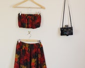 Altered Autumn Floral Leafy Print  90s Twin Set Bandeau Top and Matching Skirt Festival Summer Red Brown