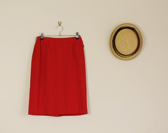 SALE Vintage Red Pencil Skint Summer 90s Pin Up 60s 50s Wiggle Skirt