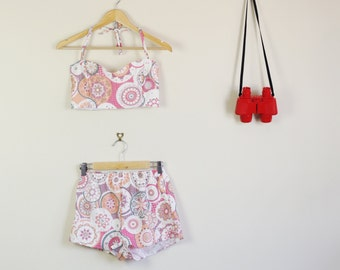 SALE Mod Print Pink Orange and White Summer Twin Set Fitted Sweetheart Crop and High Waist Shorts 90s Festival Cute Lolita 60s 70s 80s