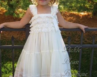 Ivory Lace Flower Girl Dress - Country Flower Girl Dress - Baby Wedding Dress - Rustic Flower Girl Dress - Cowgirl Dress - Princess Dress