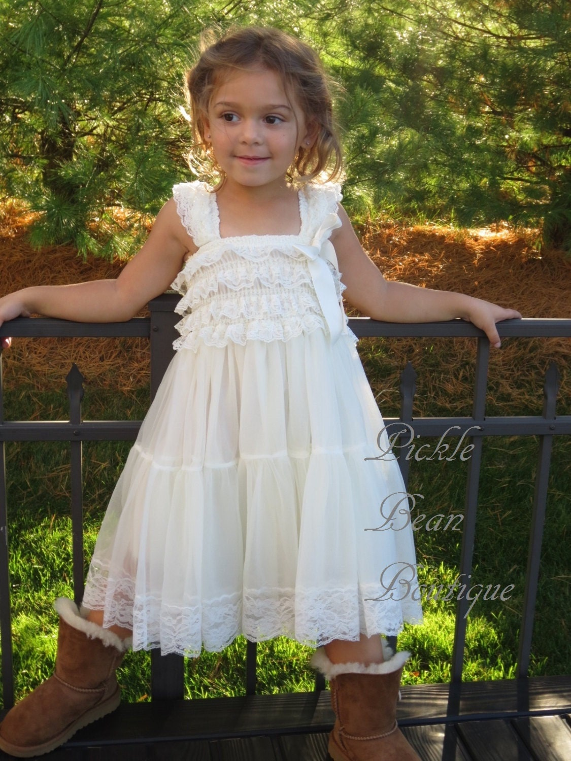 Ivory Lace Flower Girl Dress Country Flower by
