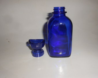 Wyeth Cobalt Eyewash Bottle Antique Opthamologic Apothecary Container Glass Collectible Art Deco Style - Rich & Deep Blue Beauty