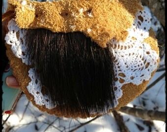 moose.&.buffalo.medicine ~ buffalo hide sacred pouch w moose fur, crocheted doily mandala