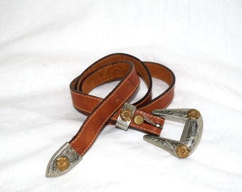 Just Add Stirrups- Brown/Tan Leather Belt with Silver Belt Buckle and Tiny Gold Flower Detail Womans