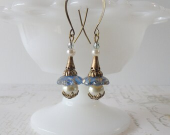 1920s Pearl & Brass Dangle Earrings // Blue and Ivory, Wedding