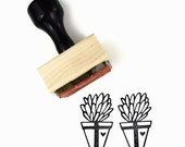 Rubber Stamp Cactus Plant in Pot | Natural Wedding DIY Potted Plant Succulent | Wood Mounted Stamp