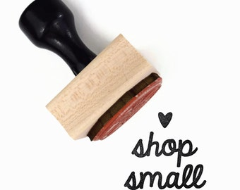 Shop Small Stamp, Wood Mounted Rubber Stamp, Small Business Packaging