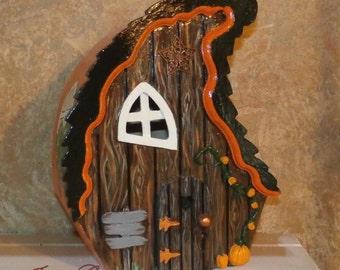Crooked Bird House-Orange Black Halloween Birdhouse-Hand Painted-Indoor Decor-Fairy House