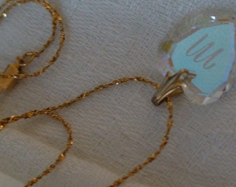 "Exquisite Etched Crystal Heart Pendant, Marked ""M"", on 12k Gold Filled Textured Chain"