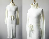 1970s sweater dress / cream knit dress / size small