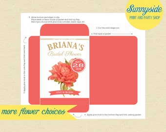 Bridal Shower Seed Packet Favor, Bridal Shower Seeds, DIY Printable Party Favor, Any flower!