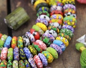 Multi Color Mosaic Sandcast Ghana African Glass Rondelle Beads 14x6mm, 100 beads, Boho Tribal Jewelry Making Supply, Large Hole Beads