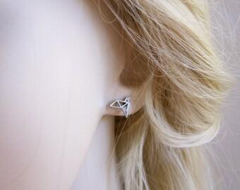 Origami CRANE BIRD surgical steel stud earrings