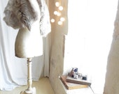 Shearling Wrap Stole in Natural White Grey Fur - Made to Order - Various Lengths available.  Free Shipping