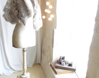 Shearling Wrap Stole in Natural White Grey Fur - Made to Order - Various Lengths available.  Ready to Ship in 2-3 days