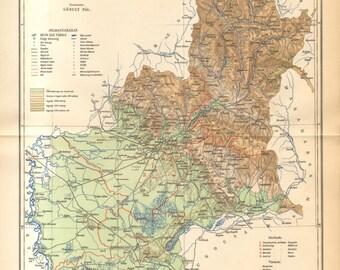 1893 Original Antique Dated Map of Bereg County, Austro-Hungarian Empire