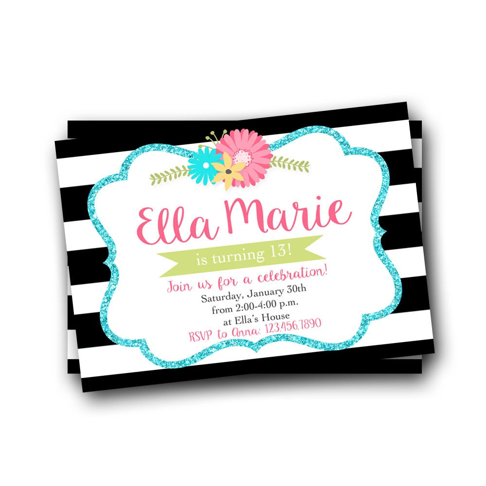 Teen Birthday Invitation Teen Girl Invitation 13th Birthday