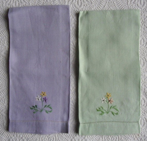 Cheap Guest Towels: Vintage Linen Towels Pair Of Embroidered Towels Purple And