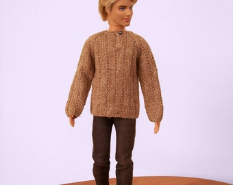 Male Doll Sweater, Doll Clothing, Fashion Doll Sweater, Male Doll Clothing, Hand Knit Doll Sweater, Doll Shirt, One Sixth Scale Doll Clothes
