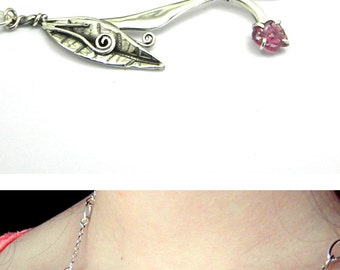 Sterling silver raw ruby necklace handmade branch twig leaf, romantic botanical jewelry, July birthstone