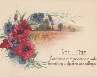 You and Me- 1910s Antique Postcard- Cornflowers and Poppies- Poppy Flowers- Friendship Card- Edwardian Floral- Paper Ephemera