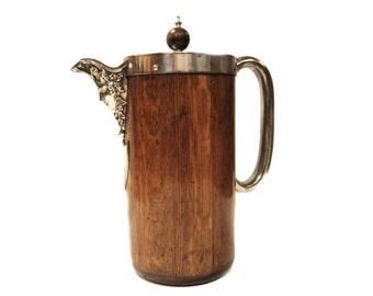 Antique Oak and Metal CoffeePot with Decorative Spout c.1890s