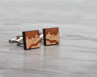 HOLIDAY SALE Wood Cuff Links, Mountains and River Wooden Cuff Links, Laser Cut Wood Woodsy Nature Men's Fashion Accessories