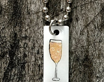 Hand Painted Champagne Stainless Steel Charm on Bracelet