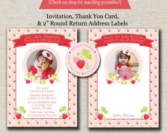Strawberry Shortcake Invitation, Thank You Card, Return Address Labels - red and pink | Strawberry Birthday Party Printables