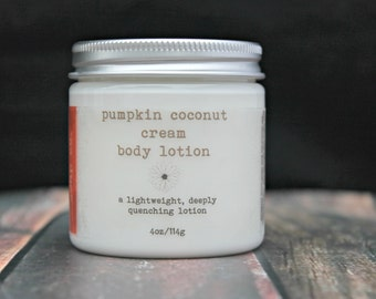 VACATION SALE  Pumpkin Coconut Cream Lotion, Vegan Body Lotion, Natural Lotion