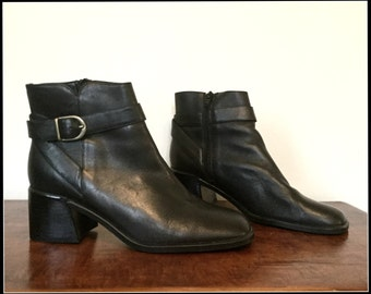 90s black leather ankle buckle booties US 6.5/EUR 37/UK 4.5