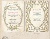 Confirmation Invitation /// or First Holy Communion Invitations with rustic greenery and floral /// FREE SHIPPING!