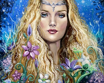 """8 x 10, Fine Art Print, """"The Lady of Light"""", painting by Kamille Freske, fairy art, fantasy art, Galadriel, Lord of the Rings, Tolkien"""