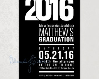 Graduation Party Invitation • Print Your Own • Class of 2016 Party Invitation • Graduation Anouncement