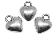 Silver Charms : 10 Antique Silver Heart Charms / Silver Ox Heart Pendants ... Lead, Nickel & Cadmium Free 52002.J5A