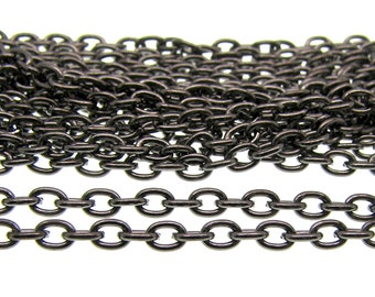 Gunmetal Chain : 16 feet Gunmetal Oval Link Cable Chain Findings 3 x 3.8 x .7mm -- Lead, Nickel, & Cadmium Free Jewelry Finding 53032