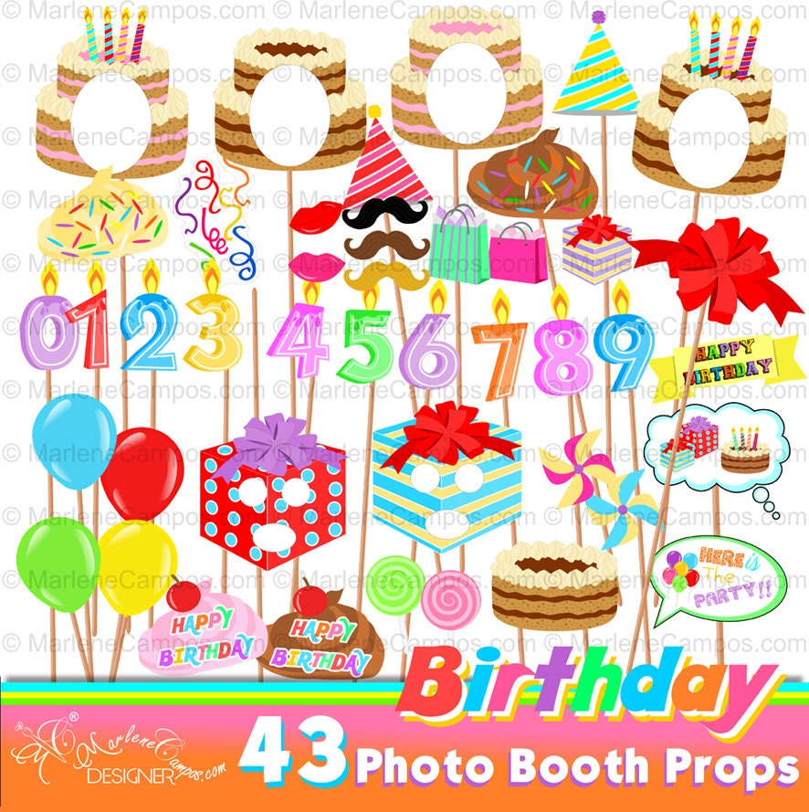 Birthday Photo Booth Props Selfie Props Birthday Party
