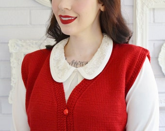 Vintage Red Knit Cropped Sweater Vest with Red Glass Buttons Size Medium