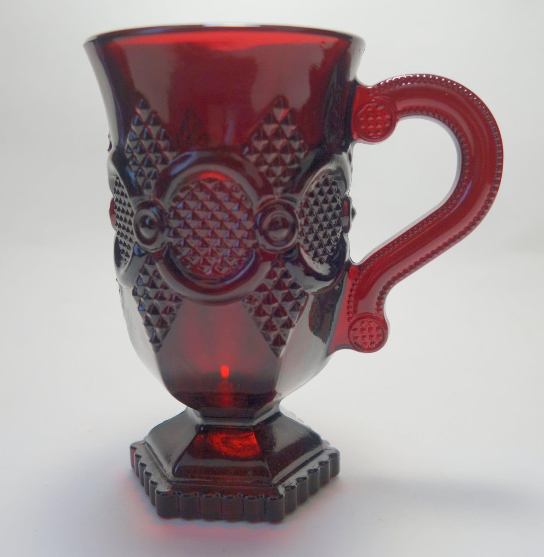Vintage Avon Cape Cod Ruby Red Glass Footed Pedestal Mug