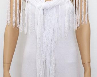 BLACK SHAWL - Black Wraps Shawl-  knitted shawl, White Wraps Shawl, Long Fringe Scarf, Evening shawl, Womens Clothing Accessories