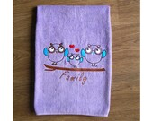 Owl Family - Embroidered bath towel