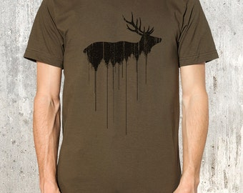 Men's T-Shirt - Elk Above Tree Line - Screen Printed T-Shirt - American Apparel - All Sizes Available